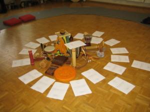 Instrumente in der Mitte eines Fortbildungsraumes