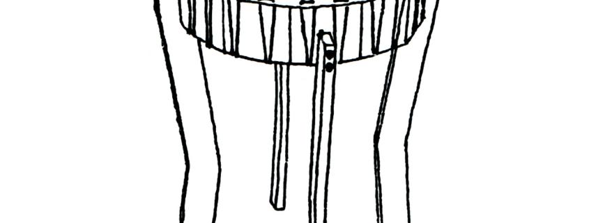 Zeichnung einer großen Rahmentrommel